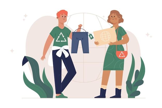 Ręcznie rysowane koncepcja zrównoważonej mody