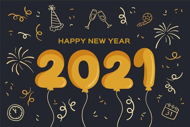 Ręcznie rysowane konfetti szczęśliwego nowego roku 2021