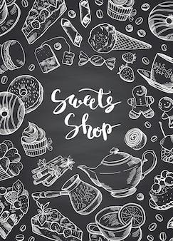 Ręcznie rysowane konturowane słodycze na tablica transparent