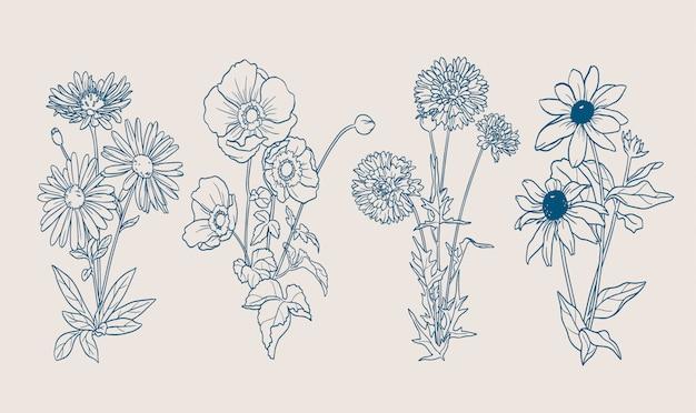 Ręcznie rysowane kontury jesienne kwiaty