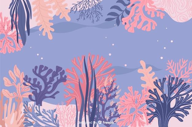Ręcznie rysowane koral tło ramki