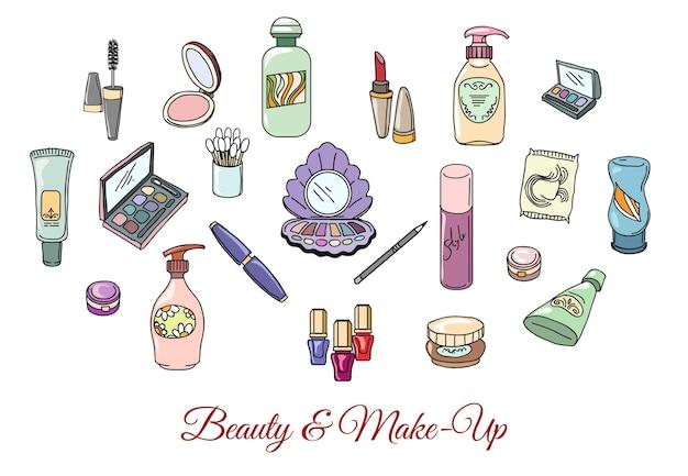 Ręcznie rysowane kosmetyki i makijaż. makijaż moda, szminka kosmetyczna cień do powiek i tusz do rzęs, ilustracji wektorowych