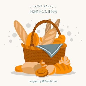 Ręcznie rysowane koszyk chleba