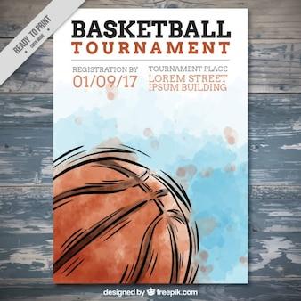 Ręcznie rysowane koszykówki akwarela ulotki
