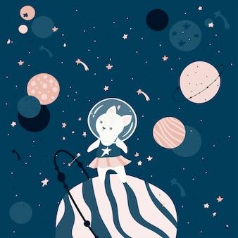 Ręcznie rysowane kot astronauta.