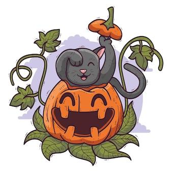 Ręcznie rysowane kot halloween