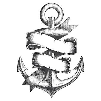 Ręcznie rysowane kotwica ze wstążką w stylu monochromatycznym