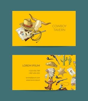 Ręcznie rysowane kowbojska wizytówka