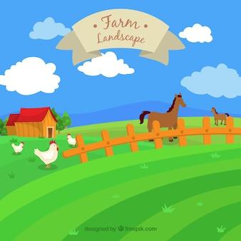 Ręcznie rysowane krajobraz gospodarstwa ze zwierzętami