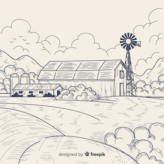 Ręcznie rysowane krajobraz gospodarstwa