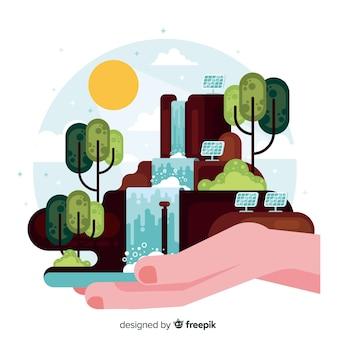 Ręcznie rysowane krajobraz z upadkami