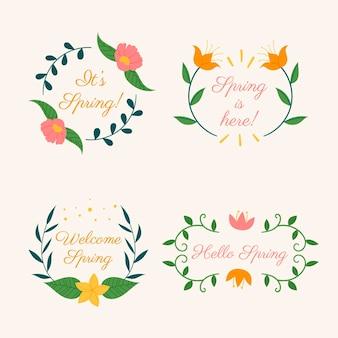 Ręcznie rysowane kreatywne odznaki wiosenne