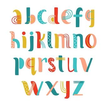 Ręcznie rysowane kreatywny alfabet w wektorze