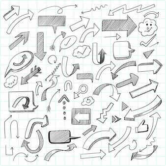 Ręcznie rysowane kreatywny zestaw geometrycznej strzałki