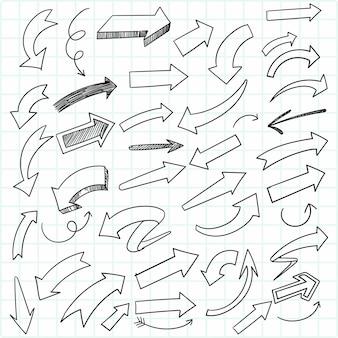 Ręcznie rysowane kreatywny zestaw strzałek doodle szkic