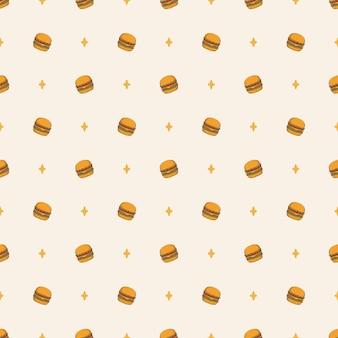 Ręcznie rysowane kreskówka burger fast food wzór