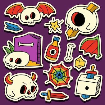 Ręcznie rysowane kreskówka doodle halloween projekt naklejki