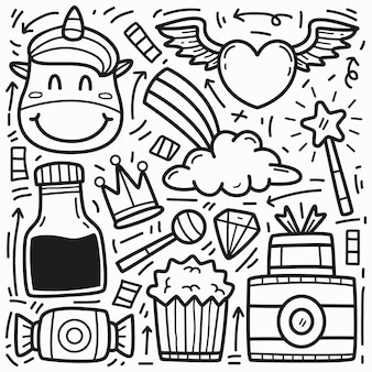 Ręcznie rysowane kreskówka doodle jednorożec projekt