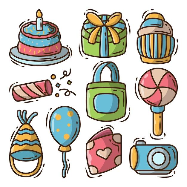 Ręcznie rysowane kreskówka doodle kolekcja elementów urodzinowych