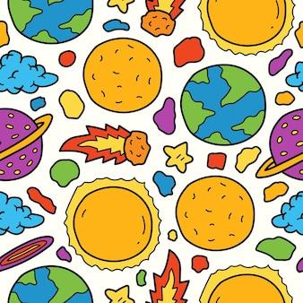 Ręcznie rysowane kreskówka doodle planeta ilustracja wzór projektu