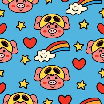 Ręcznie rysowane kreskówka doodle świnia wzór