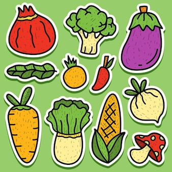 Ręcznie rysowane kreskówka doodle warzywny projekt naklejki