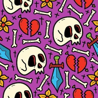 Ręcznie rysowane kreskówka doodle wzór czaszki