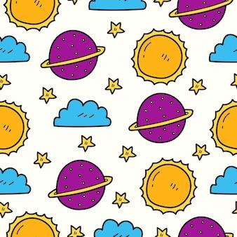 Ręcznie rysowane kreskówka doodle wzór planety