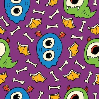 Ręcznie rysowane kreskówka doodle wzór potwora