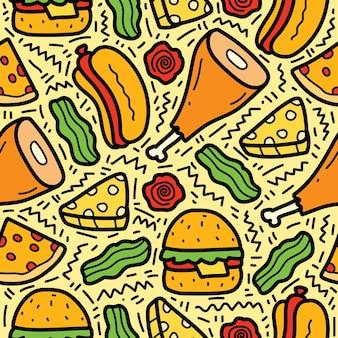 Ręcznie rysowane kreskówka doodle wzór żywności