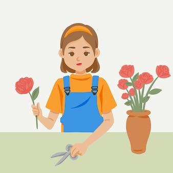 Ręcznie rysowane kreskówka dziewczyna kwiaciarnia