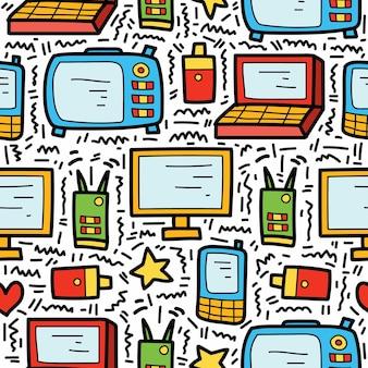 Ręcznie rysowane kreskówka elektroniczny doodle wzór projektowania