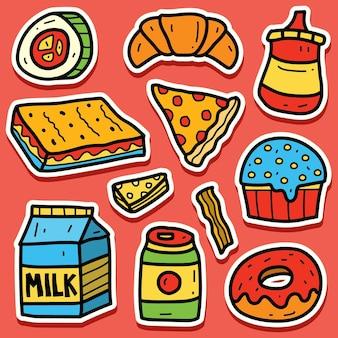 Ręcznie rysowane kreskówka jedzenie doodle projekt naklejki