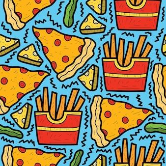 Ręcznie rysowane kreskówka jedzenie doodle wzór projektu