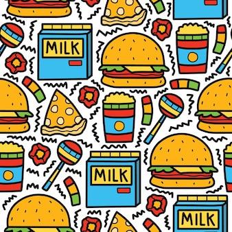 Ręcznie rysowane kreskówka jedzenie doodle wzór