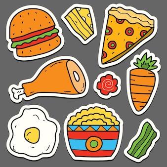 Ręcznie rysowane kreskówka jedzenie kawaii doodle naklejka