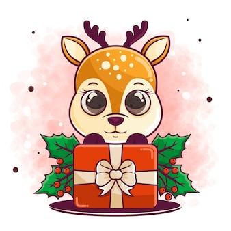 Ręcznie rysowane kreskówka jelenia świętować boże narodzenie