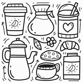 Ręcznie rysowane kreskówka kawa doodle projekt