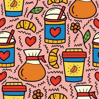 Ręcznie rysowane kreskówka kawa doodle wzór projektu