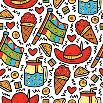 Ręcznie rysowane kreskówka kawaii doodle abstrakcyjny wzór