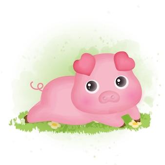 Ręcznie rysowane kreskówka ładny świnia.