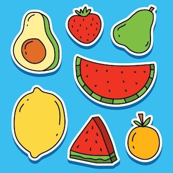 Ręcznie rysowane kreskówka owoce kawaii doodle projekt naklejki