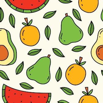 Ręcznie rysowane kreskówka owoce kawaii doodle wzór projektu