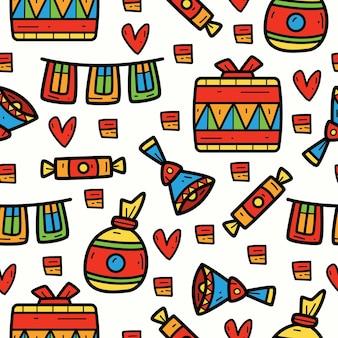 Ręcznie Rysowane Kreskówka Party Doodle Wzór Premium Wektorów