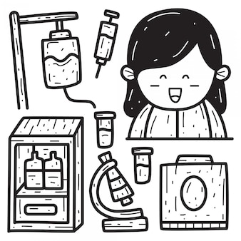 Ręcznie Rysowane Kreskówka Pielęgniarka Doodle Szablon Projektu Premium Wektorów