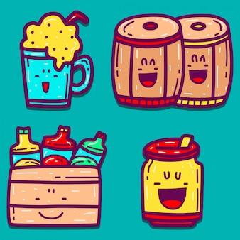 Ręcznie rysowane kreskówka piwo doodle projekt