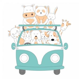 Ręcznie rysowane kreskówka przyjaźni jazdy samochodem razem zwierzęta ładny