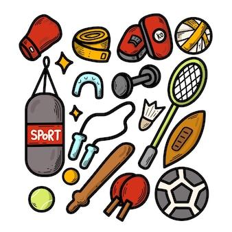 Ręcznie rysowane kreskówka sprzęt sportowy doodle design