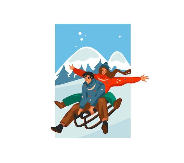 Ręcznie rysowane kreskówka uroczysty ilustracja boże narodzenie para razem na sankach na białym tle na zimowy krajobraz