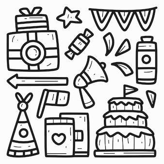 Ręcznie rysowane kreskówka urodziny doodle projekt